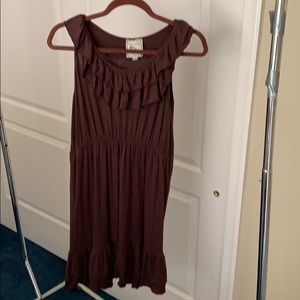 Pin Rose Chocolate Brown Ruffled Dress